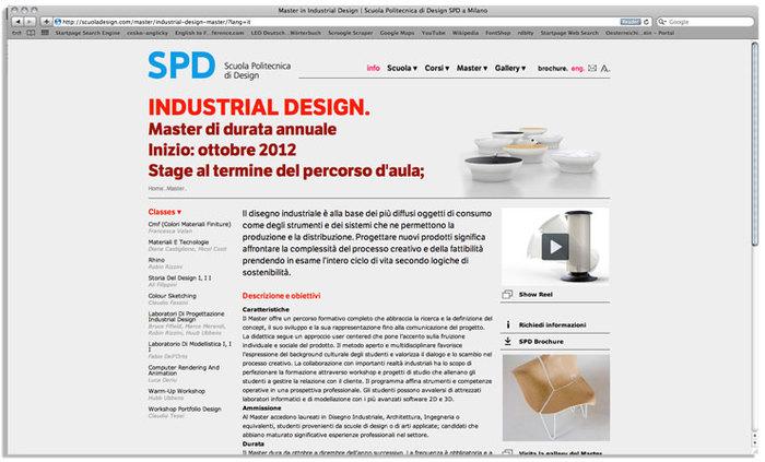 Scuola Politecnica di Design website 2