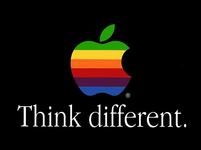 The popular slogan of Apple's was created in 1997 by the Los Angeles office of advertising agency TBWA\Chiat\Day. Here we can see Apple Garamond being used to full effect.