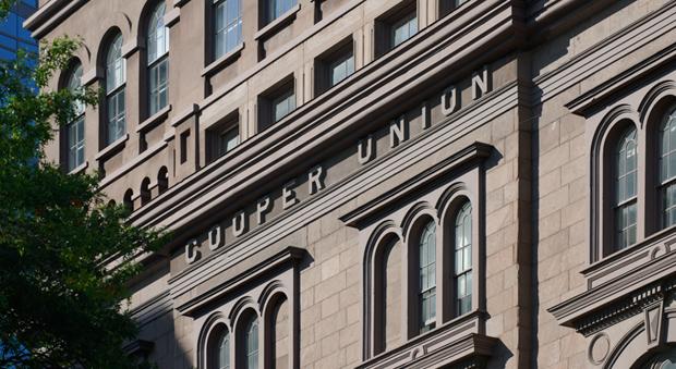 Signage on the Cooper Union's original 1859 building.