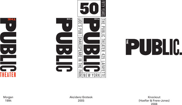 The Public Theater logo evolution (1994–2008)
