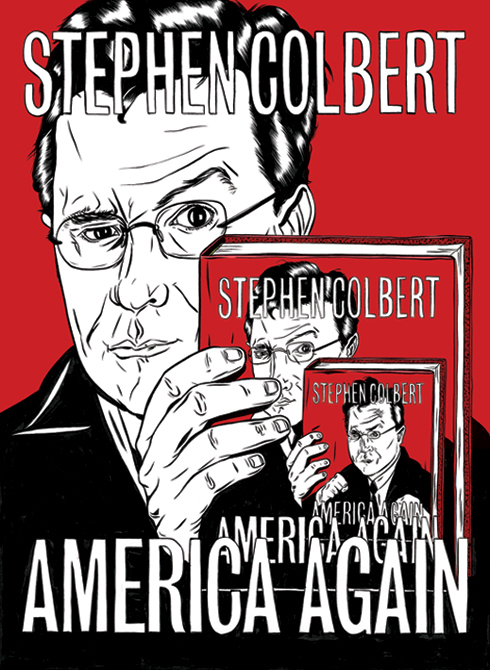 Kelsey Dake drew a parody of Stephen Colbert's self-portrait within a self-portrait for a GQ book review Colbert wrote about his own book.