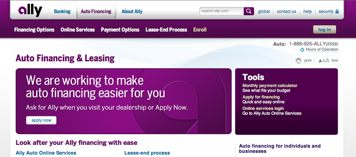 Ally Bank website 2