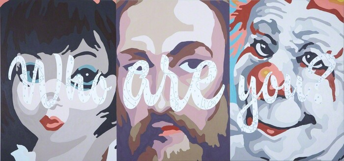 Who Are You?, 2010 Acrylic paint and archival pigment on canvas 34 × 72 in