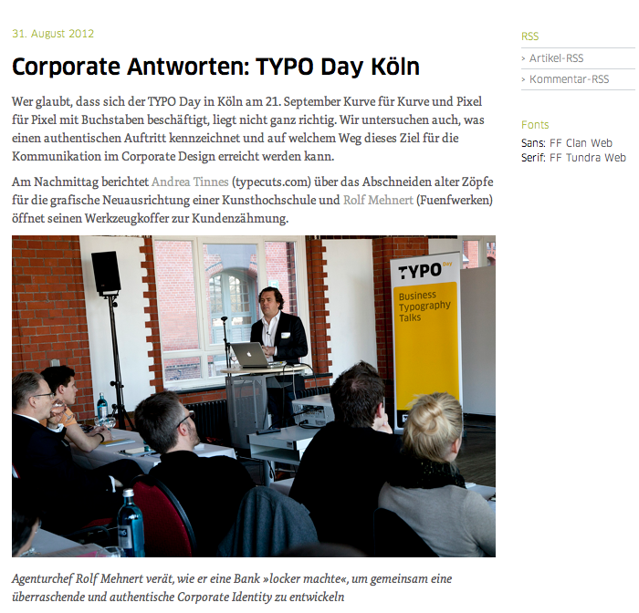 TYPO International Design Talks website 2