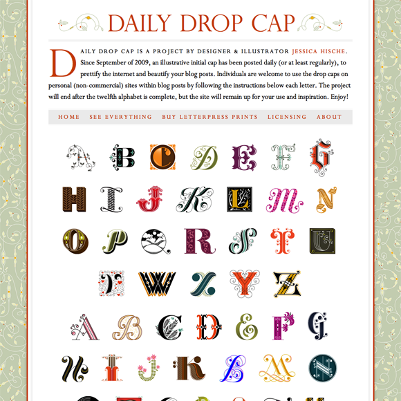 Daily Drop Cap website 1