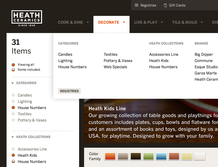 Heath Ceramics Website 1