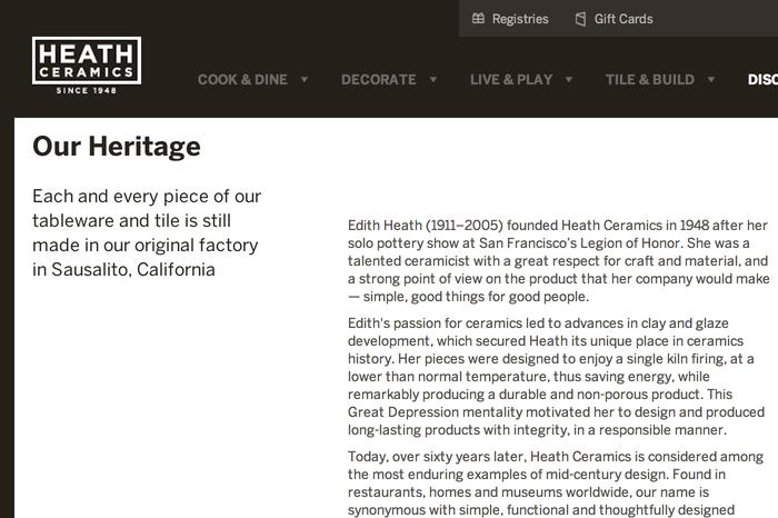 Heath Ceramics Website 3
