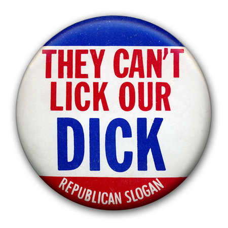 "This button was produced during the 1968 run for the president and (as indicated by ""Republican Slogan"" on the bottom) was possibly a countercultural spoof on the Nixon campaign. Still, it appears that it was used again in 1972 by the Nixon campaign itself. I welcome any other insight on this."