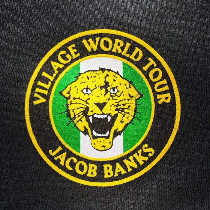 Tour badge stitching on a sweatshirt