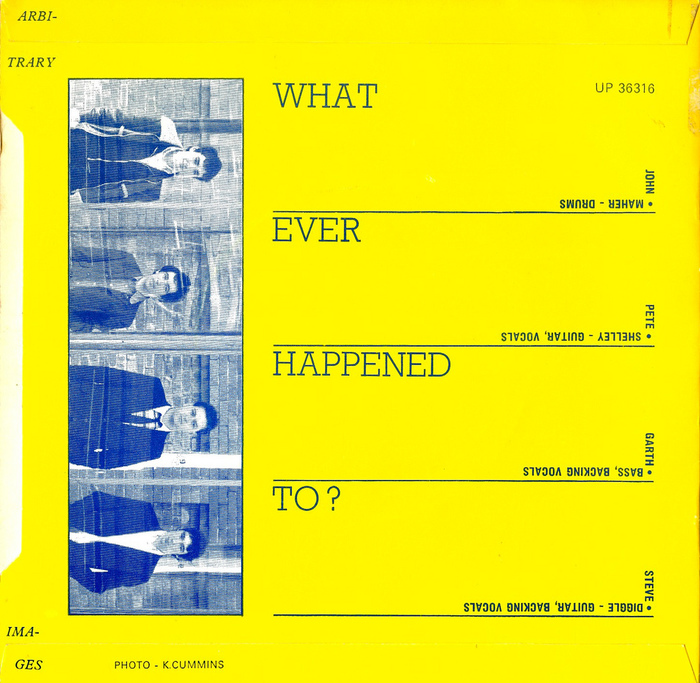 "Back cover. The title of the B-side, ""Whatever Happened to?"", is rendered in caps from Rockwell Light, another face that was available as rub-down type from Letraset. This, however, is metal Rockwell, see the comments below."