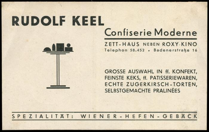 Rudolf Keel, Confiserie Moderne