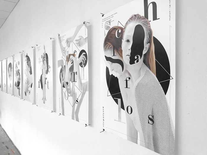 Poster series with collages representing nine emotional states