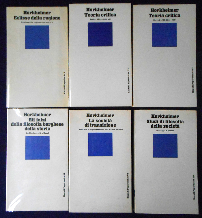 Several volumes with texts by Max Horkheimer, Einaudi Paperbacks 7, 53, 87, 104, 124.