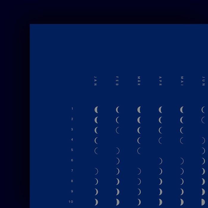 Lunar calendar / moon phases 2019 Poster 2