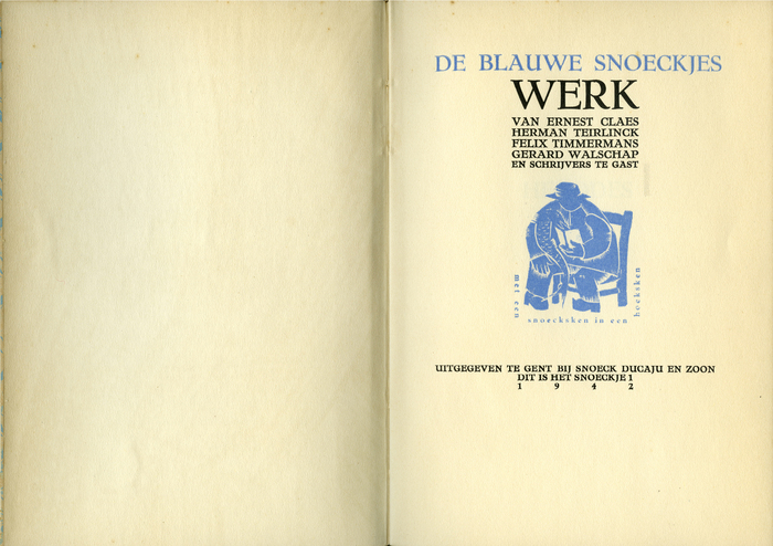 "The series is named ""De Blauwe Snoeckjes"" (The blue pikes). The blue vignet shows a man, sitting in a chair with a book and a pike (snoek), and a text saying ""met een snoecksken in een hoeksken"" (in a corner with a pike)"