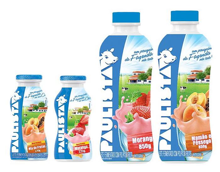 "Paulista brand yoghurt bottles (legally ""fermented milk"", as seen in the legal text near the bottom)"