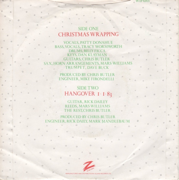 """Christmas Wrapping"" / ""Hangover 1/1/83"" – The Waitresses 2"