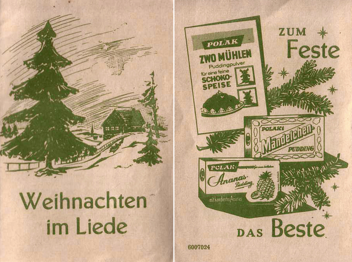 "This edition is set in Erbar-Mediäval lichtfett (1922) and Genzsch-Antiqua (1906–1910). It was printed by J.G. Oncken Nachf., G.m.b.H., Kassel, probably in the 1920s. The ad on the back cover mentions two of Polak's pudding brands, ""Mändelchen"" and ""Dreimühlen""."