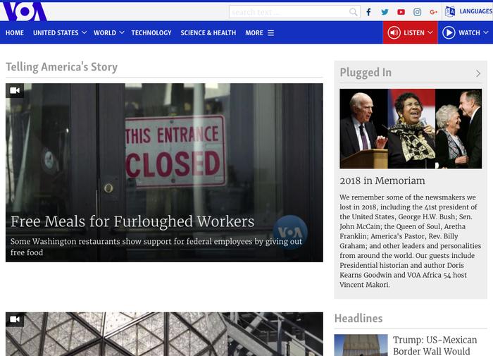 Voice of America website, Dec 31 2018 1