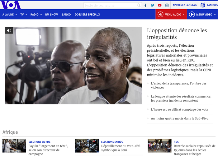 VOA Afrique, a French language website using Merriweather & Skolar Sans