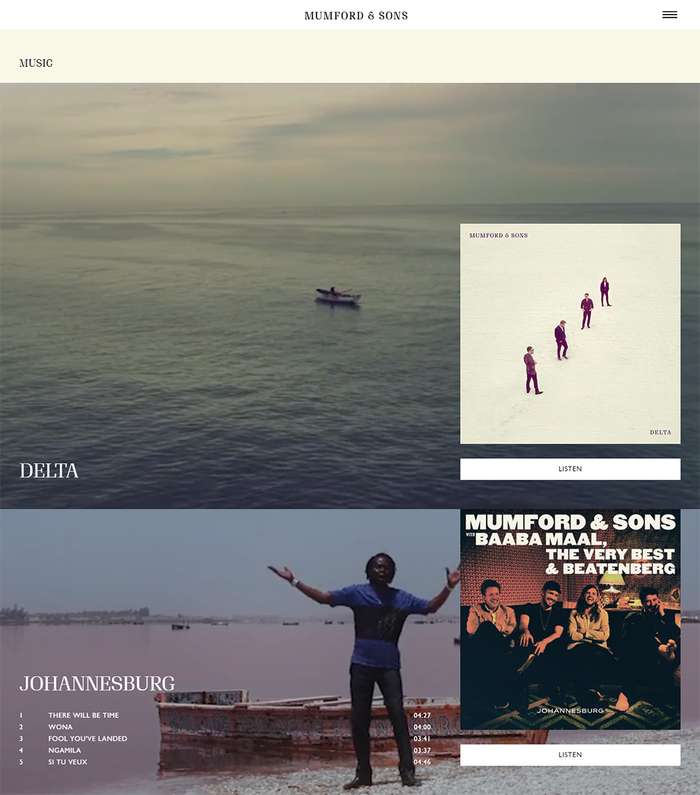 Website, showing the new Delta album and Baaba Maal, The Very Best & Beatenberg, an earlier album with a different  look and styling.