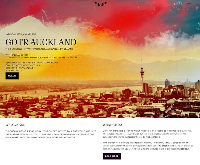 Website, GOTR / Gentlemen of the Road Tour page.