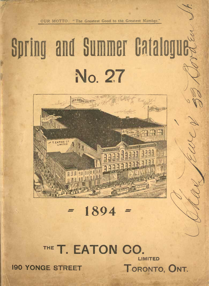 Eaton's Spring and Summer Catalogue No. 27 1