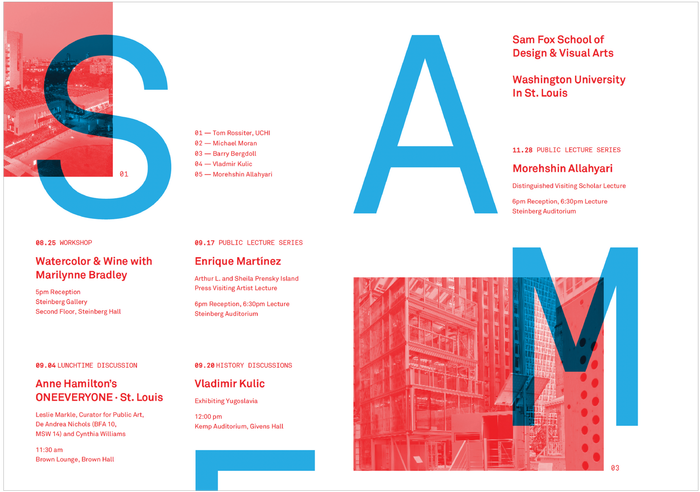 Fall 2018 lecture series poster, Sam Fox School of Design & Visual Arts 1