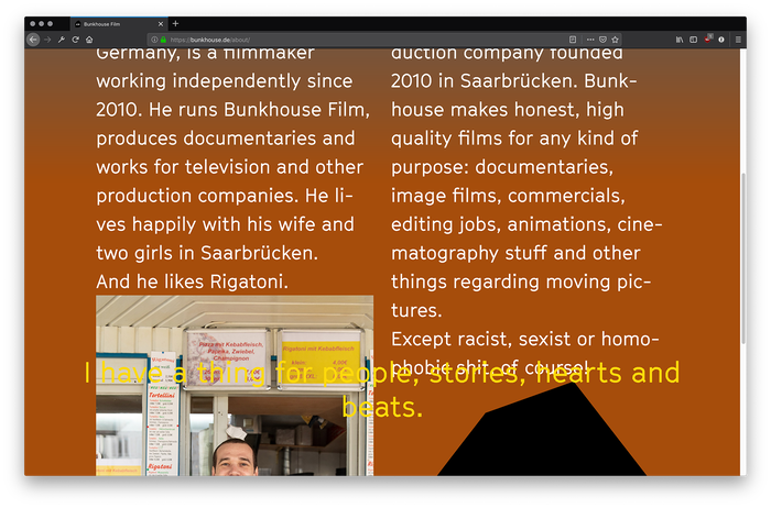 Side by side: 'About Philipp Majer' (the filmmaker), and 'About Bunkhouse' (the film production company).