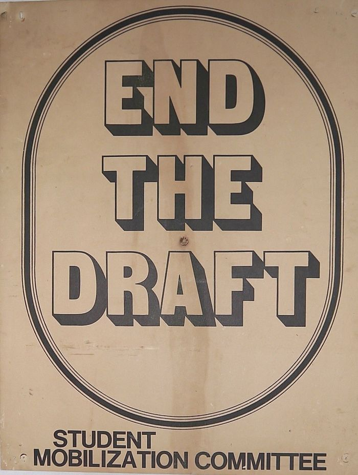Sans Serif Shaded and Helvetica on a protest poster. No date but prior to 1973 as the draft was abolished early that year; no place cited.