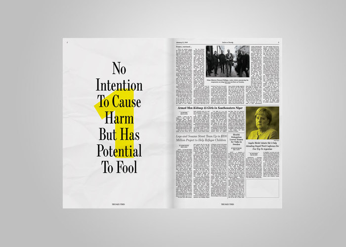 Inspired by yellow journalism, each spread teaches the reader about mis and disinformation. The 7 steps lie on a spectrum of intended harm, beginning with light political satire and ending with harmful fabricated content. Each step is highlighted in numerals set in Aktiv Grotesk from Dalton Maag.