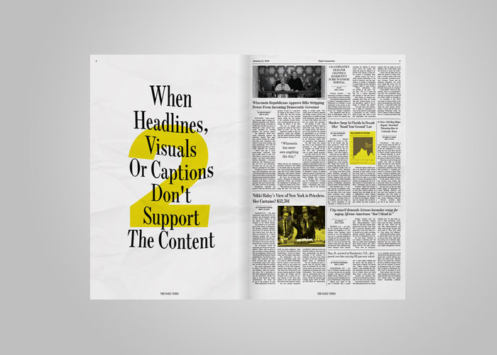 Fake news stories are highlighted in yellow to help guide the reader.