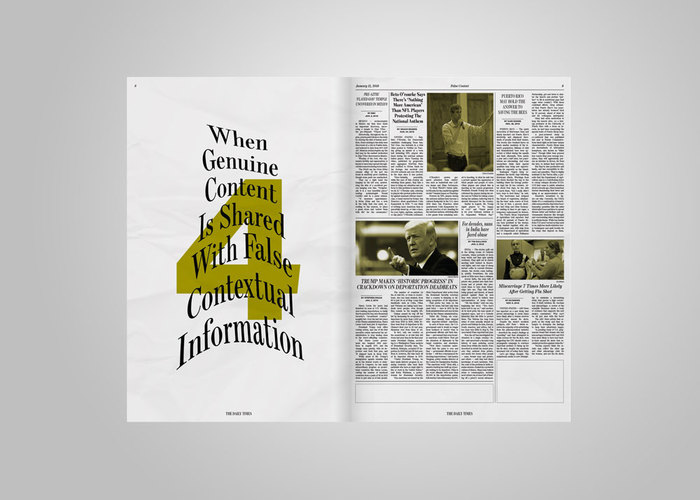 As the reader gets closer to the final spread, the intended harm of how fake news manifests instead increases, seen through the manipulation of Escrow on the left side of each spread.