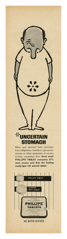"Phillips' Milk of Magnesia Tablets ad: ""Uncertain Stomach"""