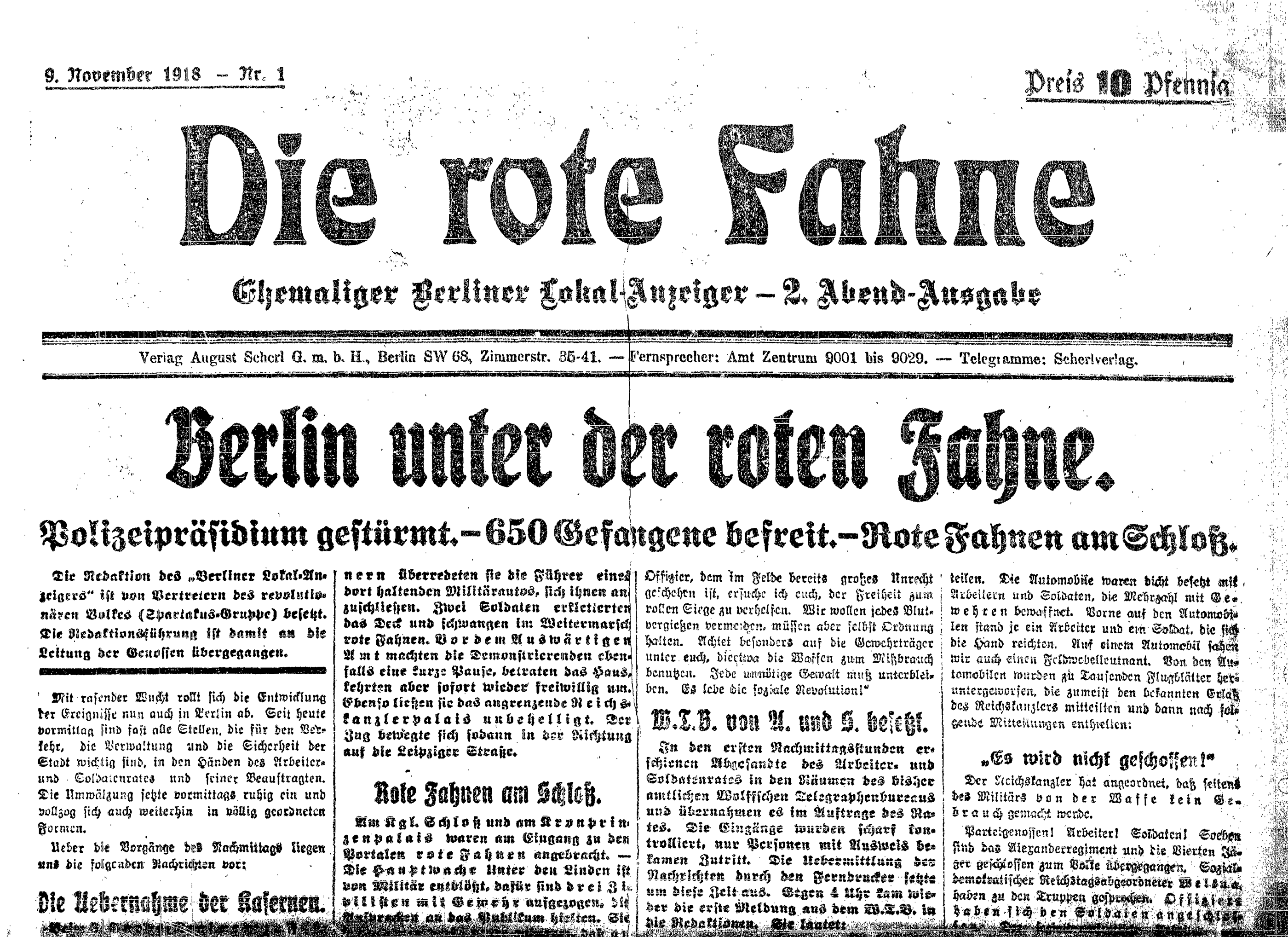 Die Rote Fahne, #1 (9 Nov 1918) and #16 (16 Jan 1919) - Fonts In Use
