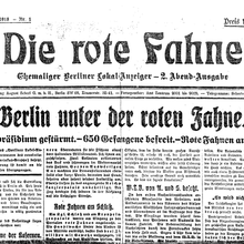 <cite>Die Rote Fahne</cite>, #1 (9 Nov 1918) and #16 (16 Jan 1919)