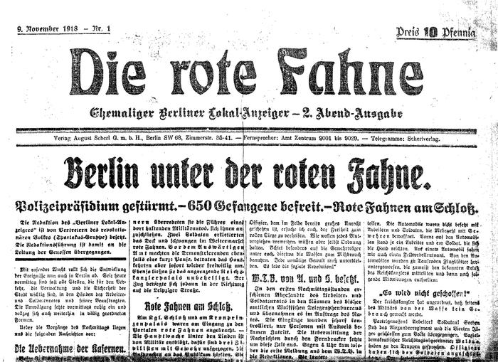 Die rote Fahne, Nr. 1 from 9 November 1918.