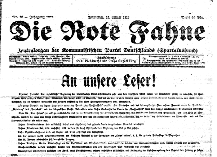 Die Rote Fahne, Nr. 16 from 16 January 1919. The exceptional situation and urgency is reflected typographically by the dissolution of the columns, resulting in unusually long lines.