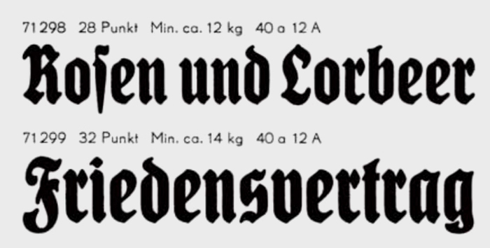 Detail from Berthold's specimen Nr. 278 showing the bold condensed member of the König-Type family designed by Heinz König and issued by the Emil Gursch foundry in Berlin-Kreuzberg in 1907–1910. This typeface was still being used by the Berliner Lokal-Anzeiger in the 1940s and even in November 1944, after the paper was merged with the Berliner Morgenpost.