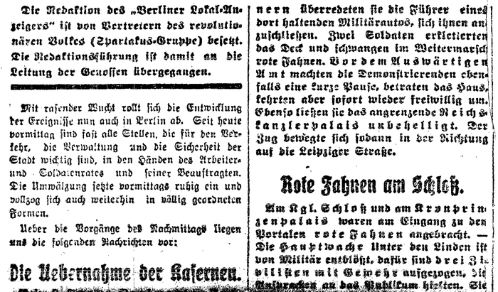 """No time for details: In German Fraktur typography, it was common to use letterspacing for emphasis, in lieu of italics. This clipping has plenty of considerably letterspaced words, none of which would ask for emphasis. The goal here was to simply justify the lines as quick as possible. What's a few stolen sheep compared to the liberation of the working class? Also note the dissolved umlauts at the bottom left (""""Ueber"""", """"Uebernahme""""): Fonts didn't always include capital forms for ÄÖÜ, but instead had separate small pieces for the dots, which could be mounted on top of AOU. This step required some fiddling, and hence it was skipped here."""