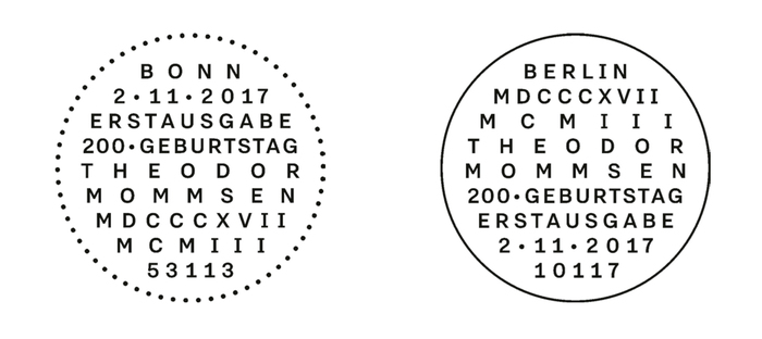 Roman numerals for the scholar of Roman history. The First Day of Issue postmarks use Nitti Grotesk in all caps, force-justified to fit the circle shape.