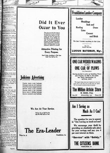 <cite>The Era-Leader:</cite> ad for advertising