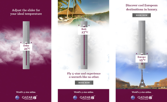 Qatar Airways Interactive Weather Ident Banners, designed Sandar Aung with art direction from Jericho Dizon at Grey Group Singapore.