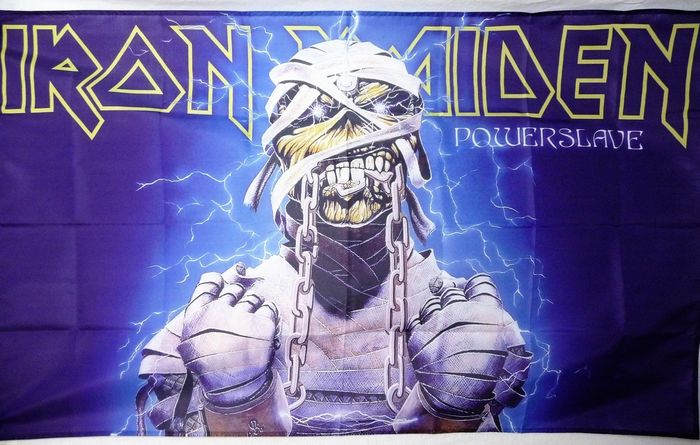 """Powerslave flag (undated), probably 2000s. """"Powerslave"""" still using Edda, but with alternate A and E."""