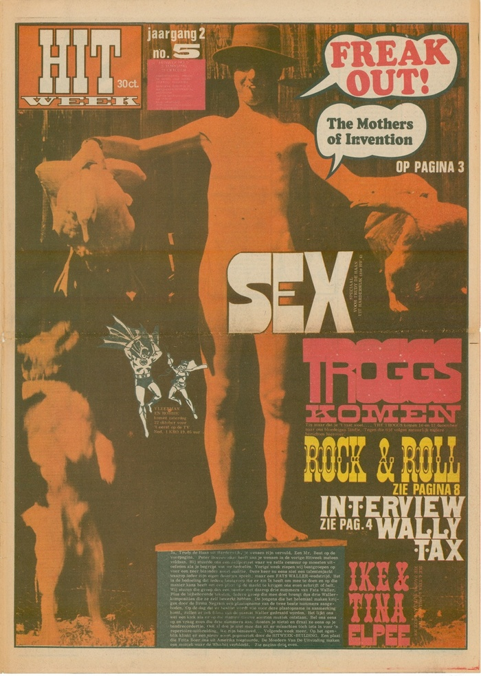"""October 21 1966, Vol. 2 No. 5. Cooper Black in speech balloons as a reference to the typography on the Freak Out! album art for Zappa and his Mothers. The other display faces on this cover are all based on 19th-century wood type: """"Sex"""" and """"Troggs"""" are set in Gothic Bold, """"komen"""" in Aldine Expanded, """"Rock & Roll"""" in Celtic/Celtic Ornamented, and """"Ike & Tina"""" in Phanitalian. """"Wally Tax"""" uses a font that has later been digitized as Alcazar and Number 514."""