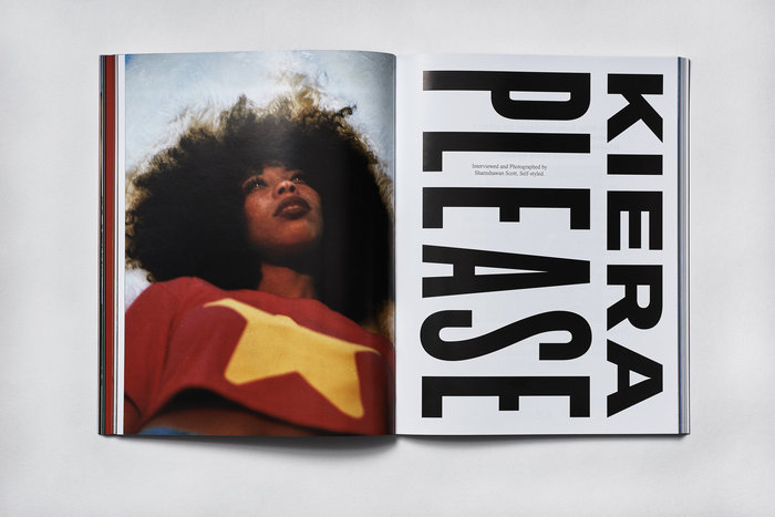 """""""Kiera Please"""" combines wide and condensed grotesque caps – in a reference to Issey Miyake's Peats Please? """"Kiera"""" set in GTAmerica, """"Please"""" seems to be using Knockout."""