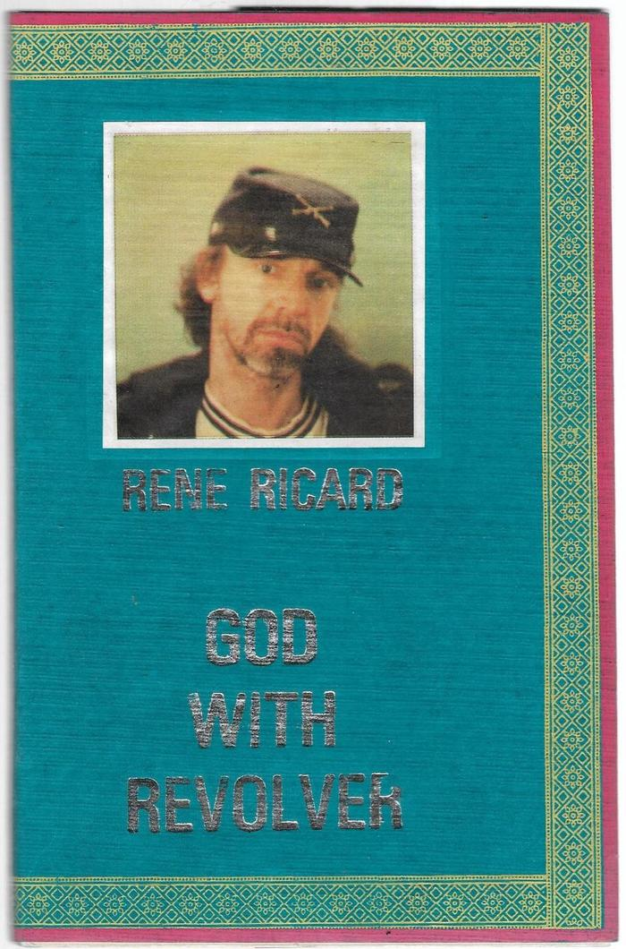 """God With Revolver by René Ricard (1990). """"A larger format was necessary for Ricard's unnumbered edition because the smaller bindings cannot hold more than twelve thousand words."""" — University of Michigan Library (Special Collections Research Center) This volume is also exceptional in terms of the type. It's Univers Condensed, in silver."""