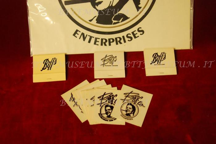 """The stickers used in the movie. The photo is watermarked """"BTTF MUSEUM"""" (in ), as it is from the Back to the Future Museum in Italy, which had acquired it from ScreenUsed.com. The matchbooks with the simpler logo, which use no identifiable type, are much more prominent in the movie."""