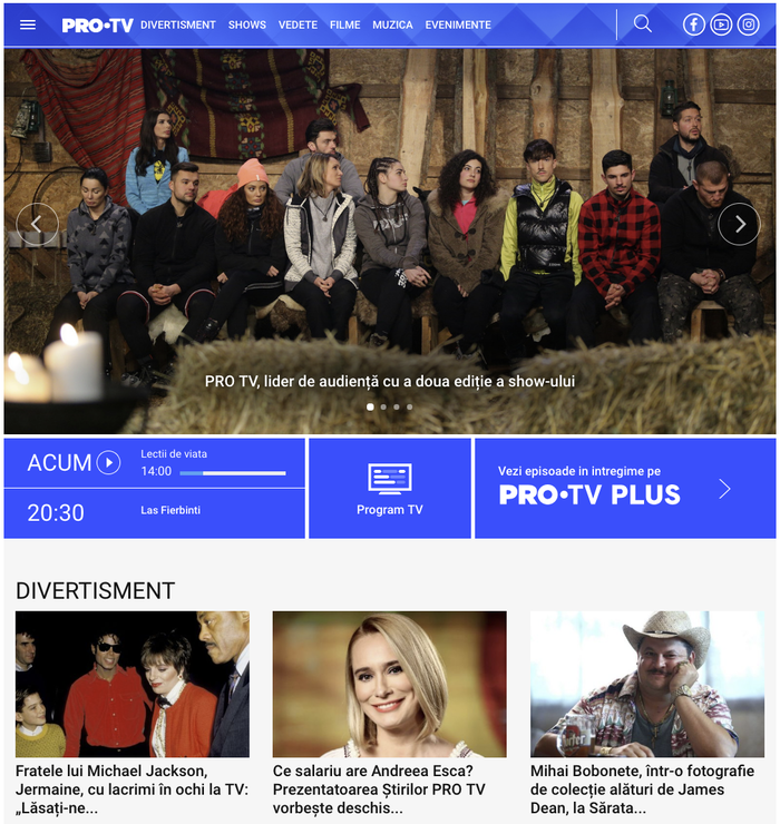 Pro TV website on 31 January 2019.  is used for text.