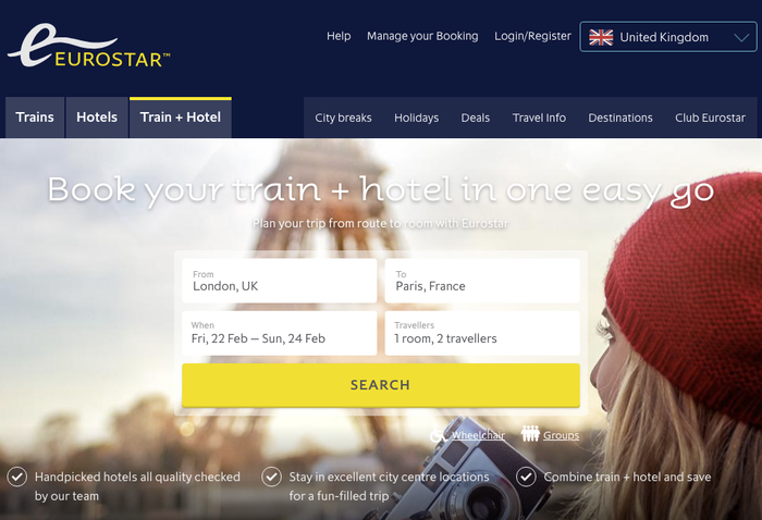 UK version of the Eurostar website. Aspect is used for headings, Pembroke for all smaller text.